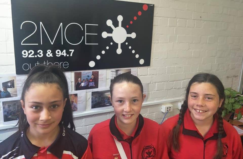 ON THE AIR: Oberon Public School students Shae, Jaydah and Eliza on their visit to 2MCE 92.3 FM radio station.
