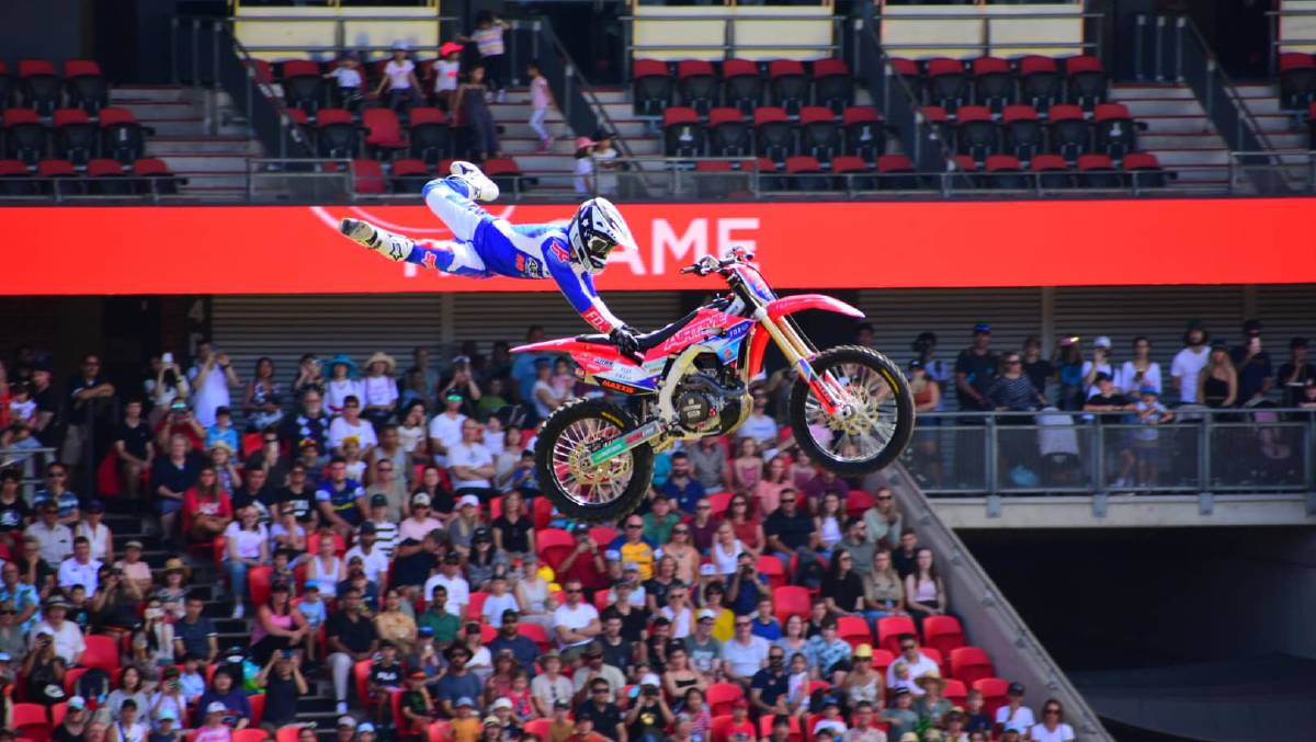 AIR TIME: The talented team at Airtime FMX have some serious skills when it comes to manipulating their bikes, and gravity, when it comes to their amazing shows. Photo: Supplied.